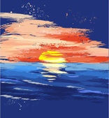 Painted sunset on the sea — Stock Vector