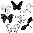 Silhouettes of butterflies and dragonflies — Stock Vector
