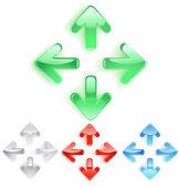 Symbool van pijlen van effen glas — Stockvector