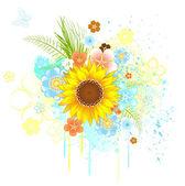 Summer sunflower — Stock Vector