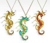 Three gold seahorses — Stock Vector