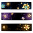 Three horizontal banner with gold jewelry — Vecteur