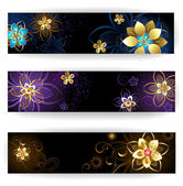 Three horizontal banner with gold jewelry — Stock Vector