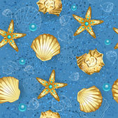 Blue seamless of gold seashells — Stok Vektör