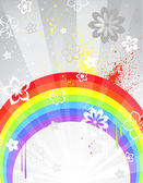 Gray background with a rainbow — Stock Vector
