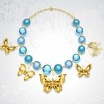 Necklace of golden butterflies — Stock Vector #46184851