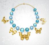 Collar de oro mariposas — Vector de stock