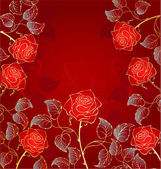 Golden red roses — Stock Vector