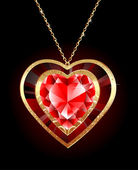 Ruby heart on a gold chain — Wektor stockowy