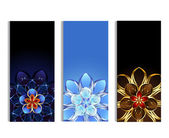 Vertical banners with abstract flowers — Stock Vector