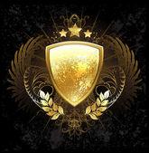 Golden shield — Stock Vector