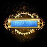 机械的蓝色横幅 — 图库矢量图片