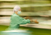 Blurred nurse runing busy working — Stock Photo