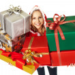 Happy woman christmas gift boxes — Stock Photo