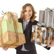 Businesswoman holding giftboxes — Stock Photo