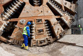 Huge tunnel boring machine — Stock Photo