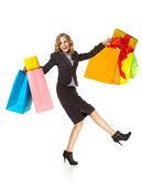 Centro comercial feliz bolsos coloridos sorprendidos — Foto de Stock