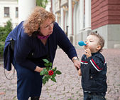 Grandmother child care — Stock Photo