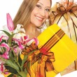 Female presents boxes flowers — Stock Photo