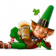Stock Photo: Elf leprechaun with beer for saint patrick's day