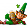 Elf leprechaun with beer for saint patrick's day — Stock Photo
