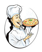 Cook with pizza — Stock Vector