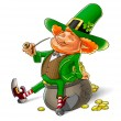 Elf leprechaun smoking pipe for saint patrick's day — Stock Photo