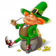 Stock Photo: Elf leprechaun smoking pipe for saint patrick's day