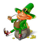 Elf leprechaun smoking pipe for saint patrick's day — 图库照片