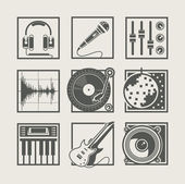 Set of music instruments icons for disco party — Stock Vector