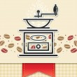 Coffee grinder with coffee, food background - Imagen vectorial