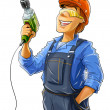 Foto Stock: Builder with drill