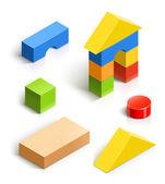 Bakstenen huis. houten speelgoed set — Stockvector