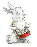 Hare playing drum — Stock Vector