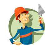 Builder with trowel — Vetor de Stock