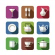 Stock Vector: Kitchen tableware set of icons
