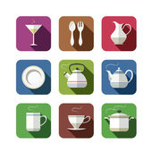 Kitchen tableware set of icons — Stock Vector