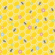 Bee on honeycomb. Seamless pattern. — Stockvektor