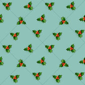 Holly berry with leaves. Christmas seamless pattern. — Stock Vector