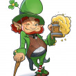 Постер, плакат: Dwarf with beer Illustration for saint Patricks day