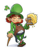 Dwarf with beer. Illustration for saint Patricks day. — Stock Vector