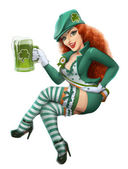Girl in leprechaun suit with beer. Saint Patrick day. — Stock Photo