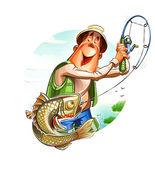 Fisherman and fish — Stock Vector