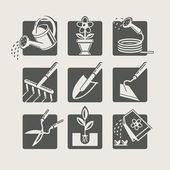 Garden tools. Icons set — Stock Vector