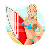 Girl with surfing board on beach — Stock Vector