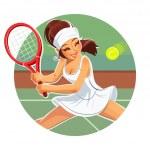 Beautiful girl play tennis — Stock Vector #44363235