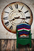 Clock,chair and room — Stock Photo