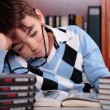 Bored kid studying — Stock Photo