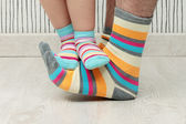 Father and son in socks — Stock Photo
