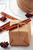 Vintage Christmas gift box — Stock Photo